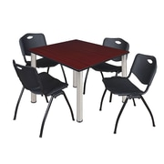 "Regency Kee 48"" Square Breakroom Table- Mahogany/ Chrome and 4 'M' Stack Chairs- Black (TB4848MHPCM47BK)"