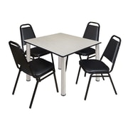"Regency Kee 48"" Square Breakroom Table- Maple/ Chrome and 4 Restaurant Stack Chairs- Black (TB4848PLPCM29BK)"
