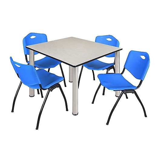 """Regency Kee 48"""" Square Breakroom Table- Maple/ Chrome and 4 'M' Stack Chairs- Blue (TB4848PLPCM47BE)"""