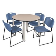 """Regency Kee 48"""" Round Breakroom Table- Beige/ Chrome and 4 Zeng Stack Chairs- Blue (TB48RDBEPCM44BE)"""