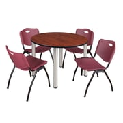 """Regency Kee 48"""" Round Breakroom Table- Cherry/ Chrome and 4 'M' Stack Chairs- Burgundy (TB48RDCHPCM47BY)"""