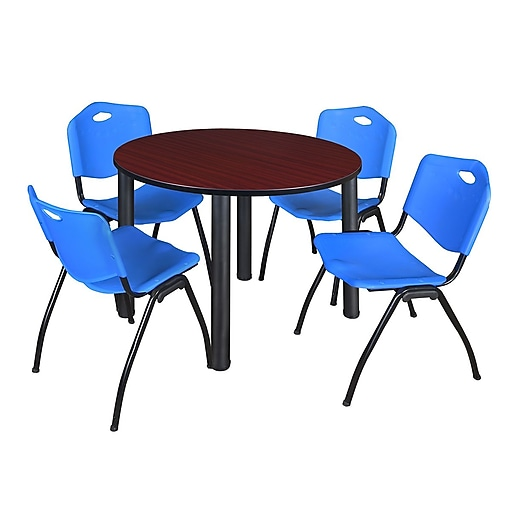 "Regency Kee 48"" Round Breakroom Table- Mahogany/ Black and 4 'M' Stack Chairs- Blue (TB48RDMHPBK47BE)"