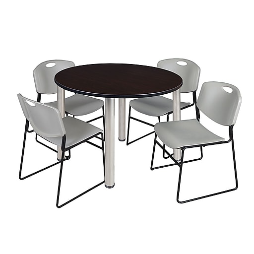 """Regency Kee 48"""" Round Breakroom Table- Mocha Walnut/ Chrome and 4 Zeng Stack Chairs- Grey (TB48RDMWPCM44GY)"""