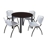 "Regency Kee 48"" Round Breakroom Table- Mocha Walnut/ Chrome and 4 'M' Stack Chairs- Grey (TB48RDMWPCM47GY)"