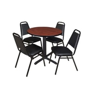 "Regency Cain 30"" Round Breakroom Table- Cherry and 4 Restaurant Stack Chairs- Black (TB30RNDCH29BK)"