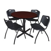 """Regency Cain 42"""" Round Breakroom Table- Mahogany and 4 'M' Stack Chairs- Black (TB42RNDMH47BK)"""