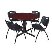 """Regency Cain 48"""" Round Breakroom Table- Mahogany and 4 'M' Stack Chairs- Black (TB48RNDMH47BK)"""