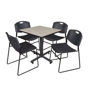 "Regency Kobe 30"" Square Breakroom Table- Maple and 4 Zeng Stack Chairs- Black (TKB3030PL44BK)"