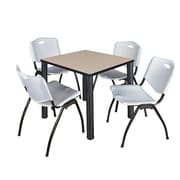 """Regency Kee 30"""" Square Breakroom Table- Beige/ Black and 4 'M' Stack Chairs- Grey (TB3030BEPBK47GY)"""