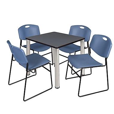 Regency – Table de salle de pause carrée Kee de 30 po, gris et chrome, avec 4 chaises empil Zeng, bleu (TB3030GYPCM44BE)
