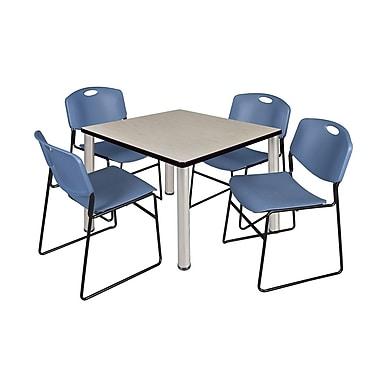 Regency – Table de salle de pause carrée Kee de 36 po, érable/chrome, avec 4 chaises empilables Zeng, bleu (TB3636PLPCM44BE)
