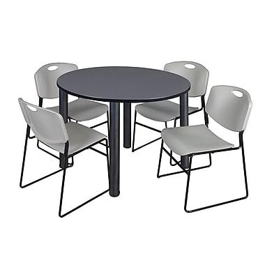 Regency – Table ronde Kee de 48 po pour salle de pause, gris/noir et 4 chaises Zeng empilables, gris (TB48RDGYPBK44GY)