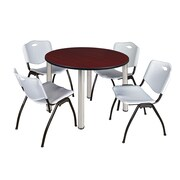 "Regency Kee 48"" Round Breakroom Table- Mahogany/ Chrome and 4 'M' Stack Chairs- Grey (TB48RDMHPCM47GY)"