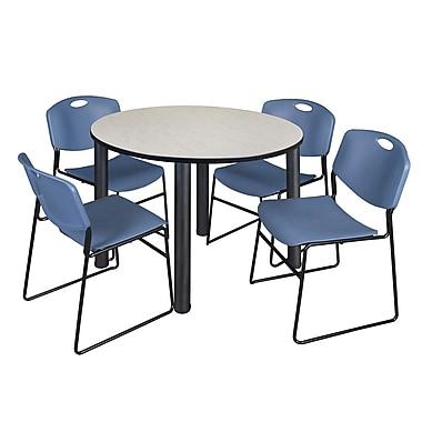 Regency – Table de salle de pause ronde Kee de 48 po, érable/noir, avec 4 chaises empilables Zeng, bleu (TB48RDPLPBK44BE)