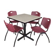 """Regency Cain 36"""" Square Breakroom Table- Maple and 4 'M' Stack Chairs- Burgundy (TB3636PL47BY)"""
