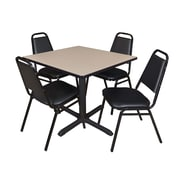 """Regency Cain 42"""" Square Breakroom Table- Beige and 4 Restaurant Stack Chairs- Black (TB4242BE29BK)"""