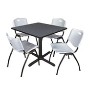"""Regency Cain 42"""" Square Breakroom Table- Grey and 4 'M' Stack Chairs- Grey (TB4242GY47GY)"""