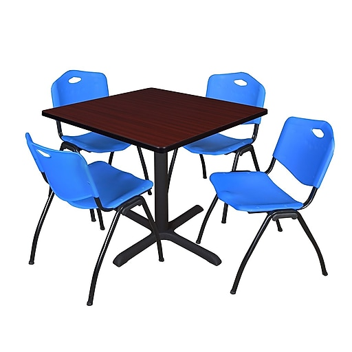 regency cain 42 square breakroom table mahogany and 4 39 m 39 stack chairs blue tb4242mh47be. Black Bedroom Furniture Sets. Home Design Ideas