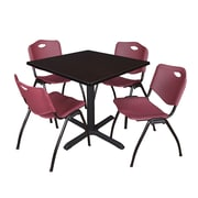 """Regency Cain 42"""" Square Breakroom Table- Mocha Walnut and 4 'M' Stack Chairs- Burgundy (TB4242MW47BY)"""