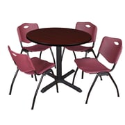 """Regency Cain 42"""" Round Breakroom Table- Mahogany and 4 'M' Stack Chairs- Burgundy (TB42RNDMH47BY)"""