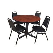 """Regency Cain 48"""" Round Breakroom Table- Cherry and 4 Restaurant Stack Chairs- Black (TB48RNDCH29BK)"""
