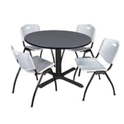 "Regency Cain 48"" Round Breakroom Table- Grey and 4 'M' Stack Chairs- Grey (TB48RNDGY47GY)"