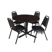 "Regency Cain 48"" Round Breakroom Table- Mocha Walnut and 4 Restaurant Stack Chairs- Black (TB48RNDMW29BK)"