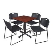 """Regency Kobe 30"""" Square Breakroom Table- Cherry and 4 Zeng Stack Chairs- Black (TKB3030CH44BK)"""
