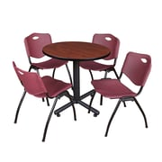 "Regency Kobe 30"" Round Breakroom Table- Cherry and 4 'M' Stack Chairs- Burgundy (TKB30RNDCH47BY)"