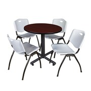 "Regency Kobe 30"" Round Breakroom Table- Mahogany and 4 'M' Stack Chairs- Grey (TKB30RNDMH47GY)"