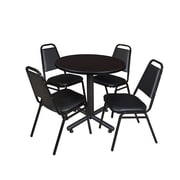 """Regency Kobe 30"""" Round Breakroom Table- Mocha Walnut  and 4 Restaurant Stack Chairs- Black (TKB30RNDMW29BK)"""