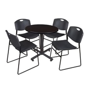 "Regency Kobe 30"" Round Breakroom Table- Mocha Walnut  and 4 Zeng Stack Chairs- Black (TKB30RNDMW44BK)"