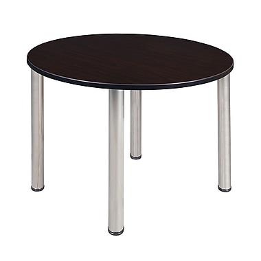 Regency – Table de salle de pause ronde Kee de 48 po, noyer moka/chrome (TB48RNDMWBPCM)