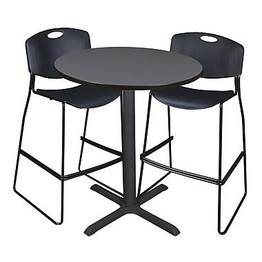 Regency – Table à café ronde Cain de 36 po, gris, avec 2 tabourets empilables Zeng, noir (TCB36RNDGY4495)