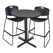 """Regency Cain 36"""" Round Cafe Table- Grey and 2 Zeng Stack Stools- Black (TCB36RNDGY4495)"""