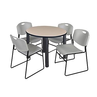 Regency – Table de salle de pause ronde Kee de 42 po, beige et noir, avec 4 chaises empilables Zeng, gris (TB42RDBEPBK44GY)