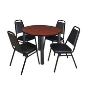"Regency Kee 42"" Round Breakroom Table- Cherry/ Black and 4 Restaurant Stack Chairs- Black (TB42RDCHPBK29BK)"