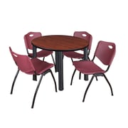 """Regency Kee 42"""" Round Breakroom Table- Cherry/ Black and 4 'M' Stack Chairs- Burgundy (TB42RDCHPBK47BY)"""