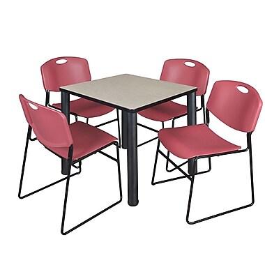 Regency – Table de salle de pause carrée Kee de 30 po, érable/noir, et 4 chaises empilables Zeng, bourgogne (TB3030PLPBK44BY)