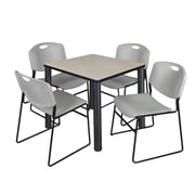 """Regency Kee 30"""" Square Breakroom Table- Maple/ Black and 4 Zeng Stack Chairs- Grey (TB3030PLPBK44GY)"""
