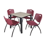 """Regency Kee 30"""" Square Breakroom Table- Maple/ Black and 4 'M' Stack Chairs- Burgundy (TB3030PLPBK47BY)"""
