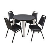 """Regency Kee 42"""" Round Breakroom Table- Grey/ Chrome and 4 Restaurant Stack Chairs- Black  (TB42RDGYBPC29BK)"""