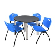 """Regency Kee 42"""" Round Breakroom Table- Grey/ Chrome and 4 'M' Stack Chairs- Blue  (TB42RDGYBPC47BE)"""