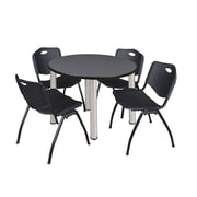 "Regency Kee 42"" Round Breakroom Table- Grey/ Chrome and 4 'M' Stack Chairs- Black  (TB42RDGYBPC47BK)"