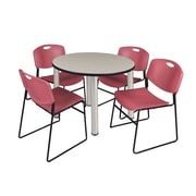 """Regency Kee 42"""" Round Breakroom Table- Maple/ Chrome and 4 Zeng Stack Chairs- Burgundy  (TB42RDPLBPC44BY)"""