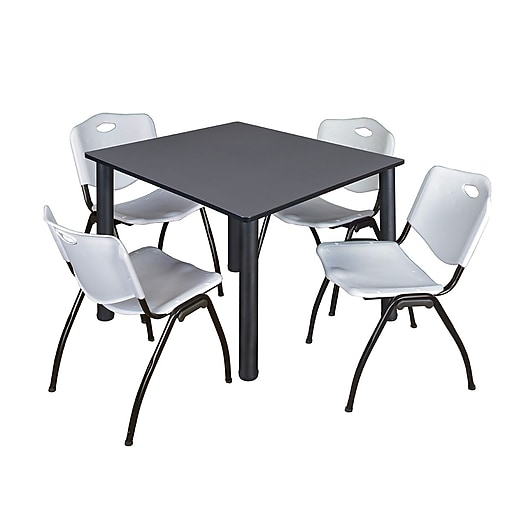 """Regency Kee 48"""" Square Breakroom Table- Grey/ Black and 4 'M' Stack Chairs- Grey (TB4848GYBPB47GY)"""