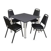 "Regency Kee 48"" Square Breakroom Table- Grey/ Chrome and 4 Restaurant Stack Chairs- Black  (TB4848GYBPC29BK)"