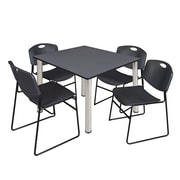 """Regency Kee 48"""" Square Breakroom Table- Grey/ Chrome and 4 Zeng Stack Chairs- Black  (TB4848GYBPC44BK)"""