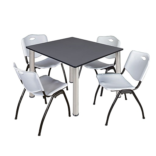 """Regency Kee 48"""" Square Breakroom Table- Grey/ Chrome and 4 'M' Stack Chairs- Grey  (TB4848GYBPC47GY)"""
