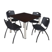 "Regency Kee 48"" Square Breakroom Table- Mocha Walnut/ Chrome and 4 'M' Stack Chairs- Black (TB4848MWBPC47BK)"